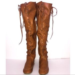 Shoes - OVER THE KNEE LACE UP BOOTS